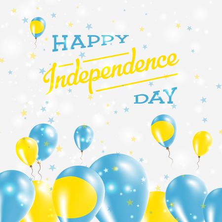 Palau Independence Day Patriotic Design. Balloons in National Colors of the Country. Happy Independence Day Vector Greeting Card. Illustration
