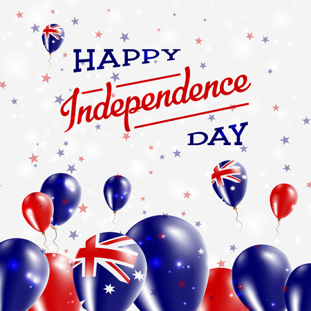 oceania: Australia Independence Day Patriotic Design. Balloons in National Colors of the Country. Happy Independence Day Vector Greeting Card. Illustration