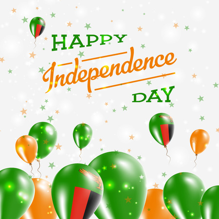 Zambia Independence Day Patriotic Design. Balloons in National Colors of the Country. Happy Independence Day Vector Greeting Card.