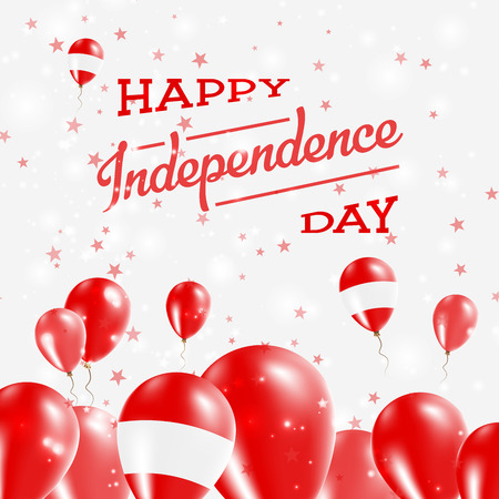 Austria Independence Day Patriotic Design. Balloons in National Colors of the Country. Happy Independence Day Vector Greeting Card.