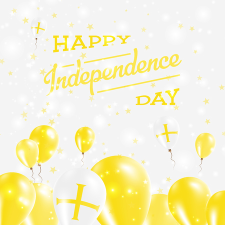 independency: Guernsey Independence Day Patriotic Design. Balloons in National Colors of the Country. Happy Independence Day Vector Greeting Card.