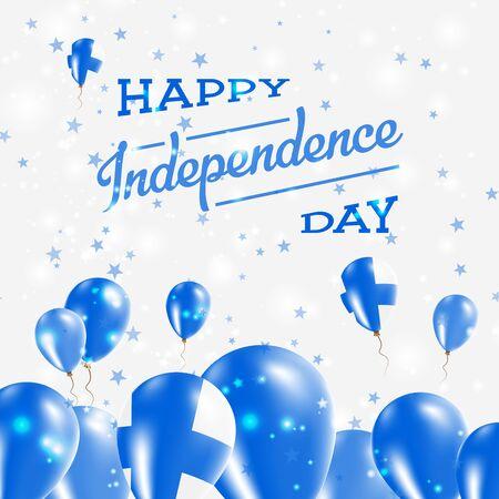 フィンランド独立記念日の愛国心が強いデザイン。国の国旗の色の風船。ハッピー独立記念日のベクトルのグリーティング カード。  イラスト・ベクター素材