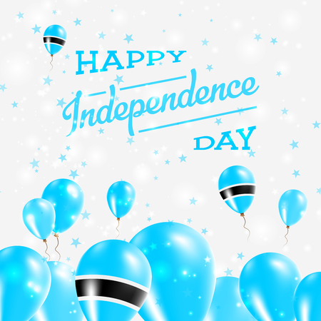 Botswana Independence Day Patriotic Design. Balloons in National Colors of the Country. Happy Independence Day Vector Greeting Card. 矢量图像