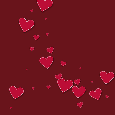 Cutout red paper hearts. Abstract circles on wine red background. Vector illustration.