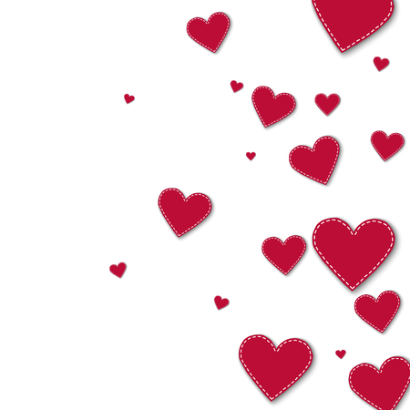 canvas print: Red stitched paper hearts. Right gradient on white background. Vector illustration. Illustration