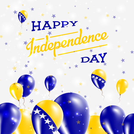 herz: Bosnia and Herzegovina Independence Day Patriotic Design. Balloons in National Colors of the Country. Happy Independence Day Vector Greeting Card.