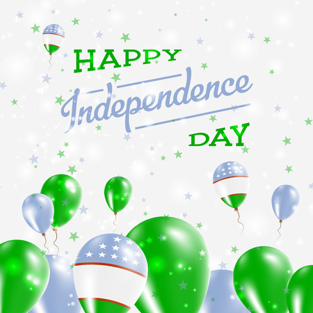Uzbekistan Independence Day Patriotic Design. Balloons in National Colors of the Country. Happy Independence Day Vector Greeting Card.