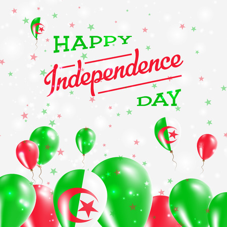 Algeria Independence Day Patriotic Design. Balloons in National Colors of the Country. Happy Independence Day Vector Greeting Card. Ilustração