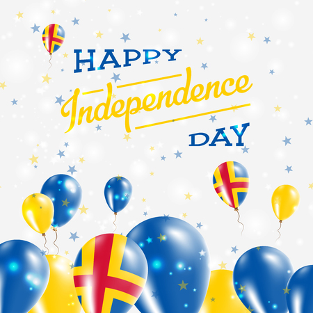 Aland Islands Independence Day Patriotic Design. Balloons in National Colors of the Country. Happy Independence Day Vector Greeting Card. Illustration