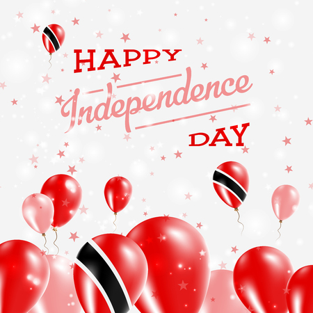 Trinidad and Tobago Independence Day Patriotic Design. Balloons in National Colors of the Country. Happy Independence Day Vector Greeting Card.