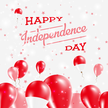 Indonesia Independence Day Patriotic Design. Balloons in National Colors of the Country. Happy Independence Day Vector Greeting Card. Illustration