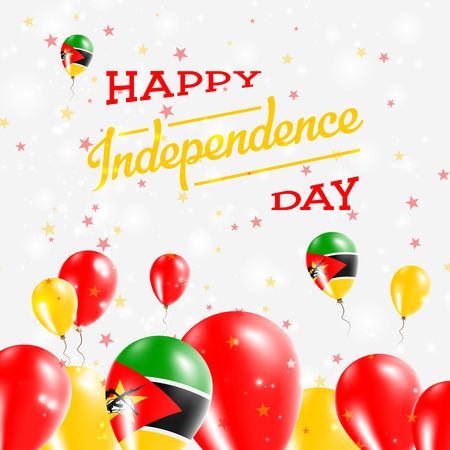 Mozambique Independence Day Patriotic Design. Balloons in National Colors of the Country. Happy Independence Day Vector Greeting Card.