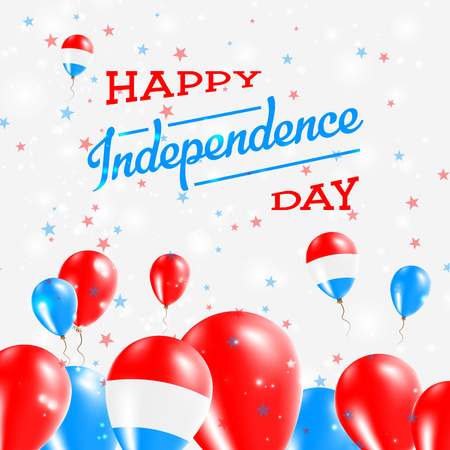 Luxembourg Independence Day Patriotic Design. Balloons in National Colors of the Country. Happy Independence Day Vector Greeting Card.