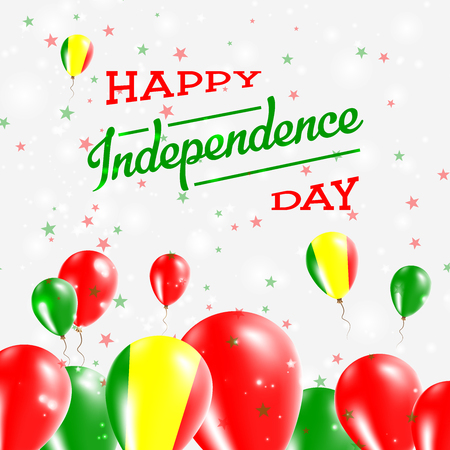 proclamation: Mali Independence Day Patriotic Design. Balloons in National Colors of the Country. Happy Independence Day Vector Greeting Card.