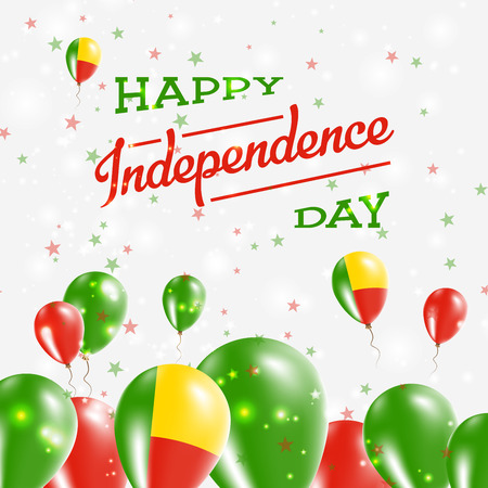 Benin Independence Day Patriotic Design. Balloons in National Colors of the Country. Happy Independence Day Vector Greeting Card.