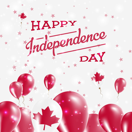 Canada Independence Day Patriotic Design. Balloons in National Colors of the Country. Happy Independence Day Vector Greeting Card. Illustration