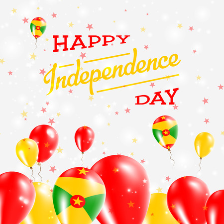 Grenada Independence Day Patriotic Design. Balloons in National Colors of the Country. Happy Independence Day Vector Greeting Card.
