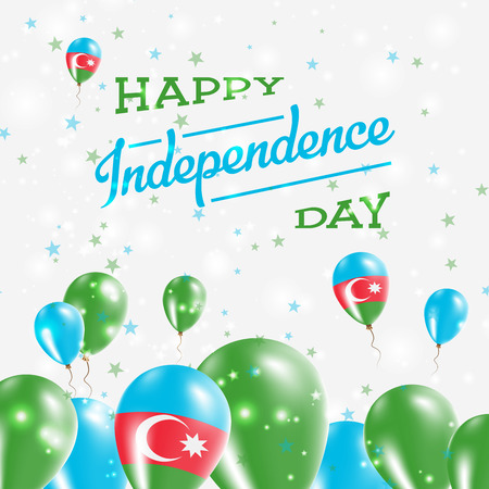 Azerbaijan Independence Day Patriotic Design. Balloons in National Colors of the Country. Happy Independence Day Vector Greeting Card.