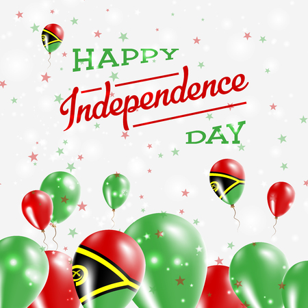 Vanuatu Independence Day Patriotic Design. Balloons in National Colors of the Country. Happy Independence Day Vector Greeting Card.