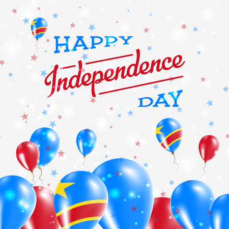 Congo, The Democratic Republic Of The Independence Day Patriotic Design. Balloons in National Colors of the Country. Happy Independence Day Vector Greeting Card. Illustration