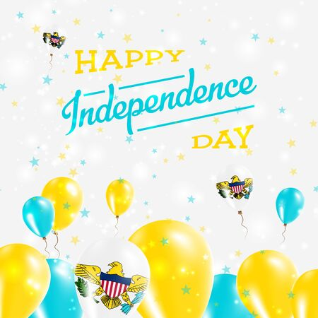 declaration of independence: Virgin Islands, U.S. Independence Day Patriotic Design. Balloons in National Colors of the Country. Happy Independence Day Vector Greeting Card. Illustration