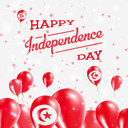 Tunisia Independence Day Patriotic Design. Balloons in National Colors of the Country. Happy Independence Day Vector Greeting Card.