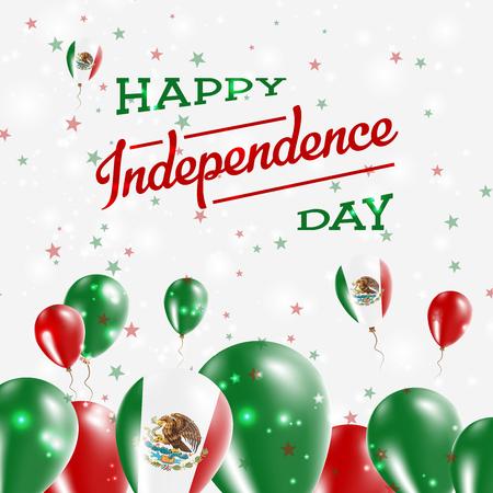 Design patriottico del giorno dell'indipendenza del Messico. Palloncini nei colori nazionali del paese. Cartolina d'auguri felice di vettore di festa dell'indipendenza. Archivio Fotografico - 84277599