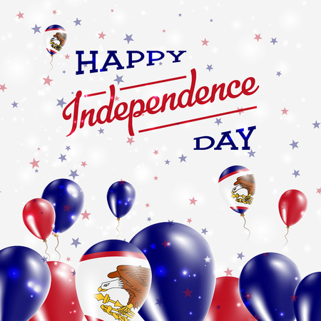 oceania: American Samoa Independence Day Patriotic Design. Balloons in National Colors of the Country. Happy Independence Day Vector Greeting Card.