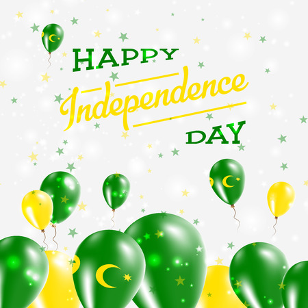 Cocos (Keeling) Islands Independence Day Patriotic Design. Balloons in National Colors of the Country. Happy Independence Day Vector Greeting Card.
