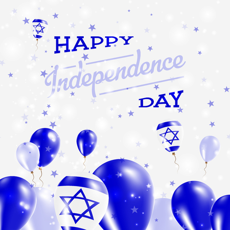 Israel Independence Day Patriotic Design. Balloons in National Colors of the Country. Happy Independence Day Vector Greeting Card.