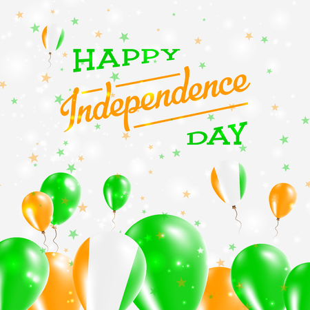 Cote DIvoire Independence Day Patriotic Design. Balloons in National Colors of the Country. Happy Independence Day Vector Greeting Card.