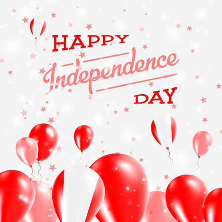 Peru Independence Day Patriotic Design. Balloons in National Colors of the Country. Happy Independence Day Vector Greeting Card.