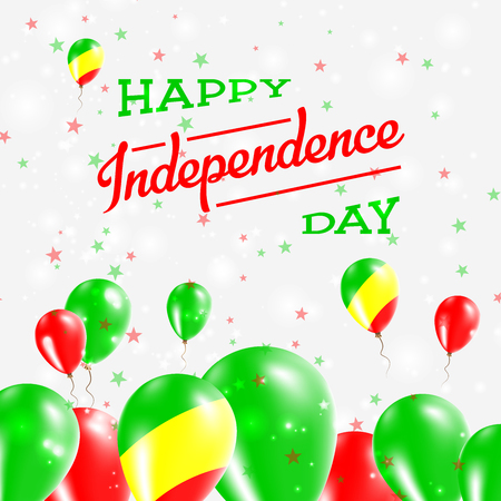 Congo Independence Day Patriotic Design. Balloons in National Colors of the Country. Happy Independence Day Vector Greeting Card.