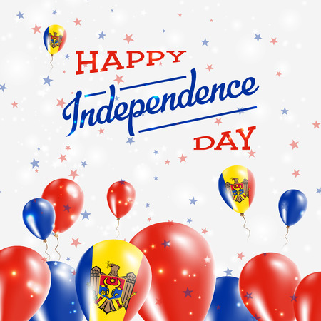 independency: Moldova, Republic of Independence Day Patriotic Design. Balloons in National Colors of the Country. Happy Independence Day Vector Greeting Card.