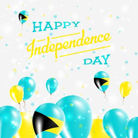 Bahamas Independence Day Patriotic Design. Balloons in National Colors of the Country. Happy Independence Day Vector Greeting Card.