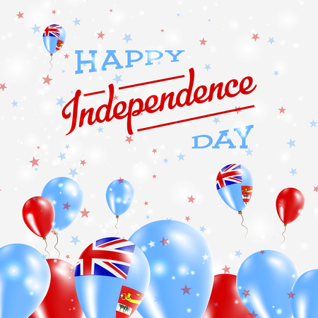 Fiji Independence Day Patriotic Design. Balloons in National Colors of the Country. Happy Independence Day Vector Greeting Card.