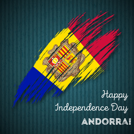 Andorra Independence Day Patriotic Design. Expressive Brush Stroke in National Flag Colors on dark striped background. Happy Independence Day Andorra Vector Greeting Card.