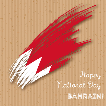 Bahrain Independence Day Patriotic Design. Expressive Brush Stroke in National Flag Colors on kraft paper background. Happy Independence Day Bahrain Vector Greeting Card.