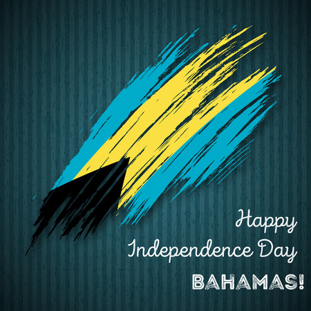 Onafhankelijkheidsdag van de Bahama's Patriottisch ontwerp. Expressieve penseelstreek in nationale vlagkleuren op donkere gestreepte achtergrond. Happy Independence Day Bahama's Vector wenskaart. Stock Illustratie
