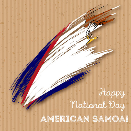 American Samoa Independence Day Patriotic Design. Expressive Brush Stroke in National Flag Colors on kraft paper background. Happy Independence Day American Samoa Vector Greeting Card.