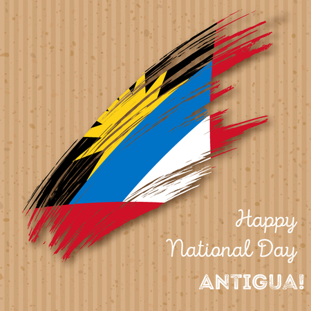 Antigua Independence Day Patriotic Design. Expressive Brush Stroke in National Flag Colors on kraft paper background. Happy Independence Day Antigua Vector Greeting Card.