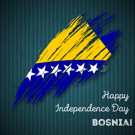 herz: Bosnia Independence Day Patriotic Design. Expressive Brush Stroke in National Flag Colors on dark striped background. Happy Independence Day Bosnia Vector Greeting Card. Illustration