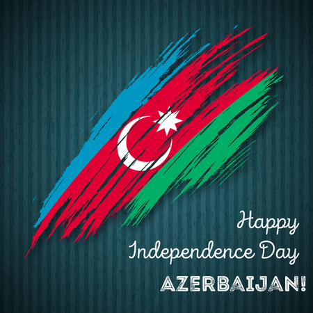 Azerbaijan Independence Day Patriotic Design. Expressive Brush Stroke in National Flag Colors on dark striped background. Happy Independence Day Azerbaijan Vector Greeting Card.