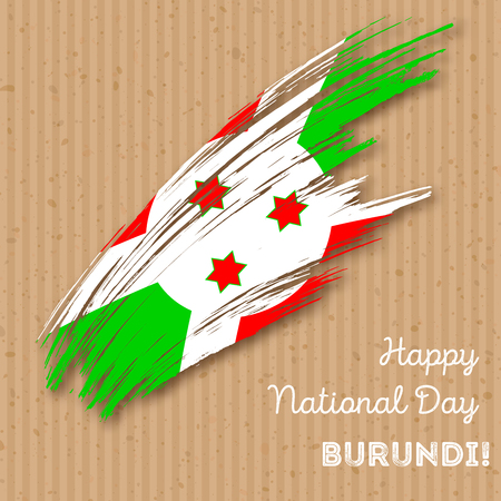 Burundi Independence Day Patriotic Design. Expressive Brush Stroke in National Flag Colors on kraft paper background. Happy Independence Day Burundi Vector Greeting Card. Illustration