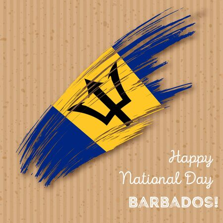 Barbados Independence Day Patriotic Design. Expressive Brush Stroke in National Flag Colors on kraft paper background. Happy Independence Day Barbados Vector Greeting Card.