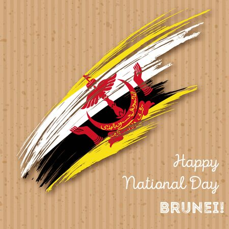 Brunei Independence Day Patriotic Design. Expressive Brush Stroke in National Flag Colors on kraft paper background. Happy Independence Day Brunei Vector Greeting Card. Illustration