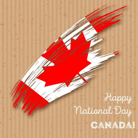 Canada Independence Day Patriotic Design. Expressive Brush Stroke in National Flag colors on kraft paper background.