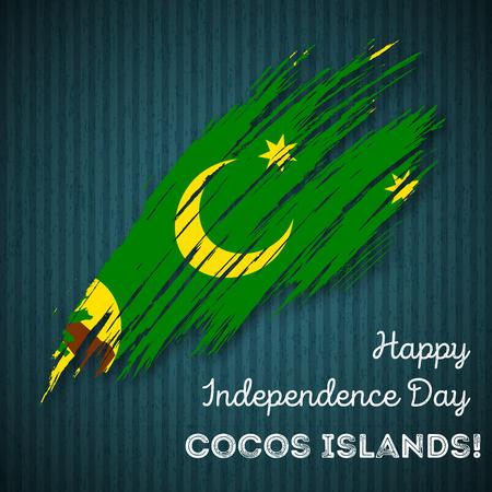 Cocos Islands Independence Day Patriotic Design. Expressive Brush Stroke in National Flag Colors on dark striped background.