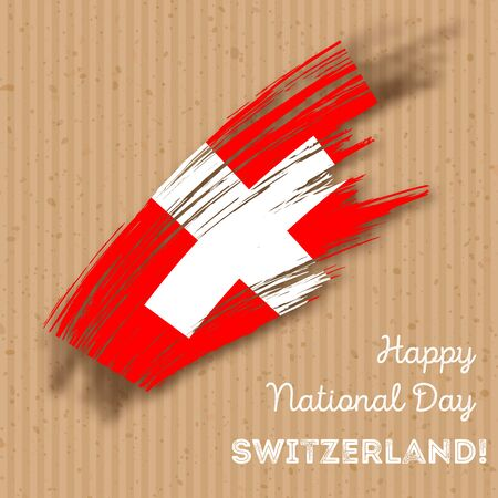Switzerland Independence Day Patriotic Design. Expressive Brush Stroke in National Flag Colors on kraft paper background