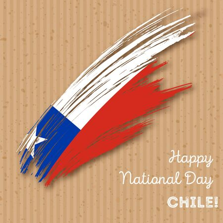 Chile Independence Day Patriotic Design. Expressive Brush Stroke in National Flag Colors on kraft paper background.